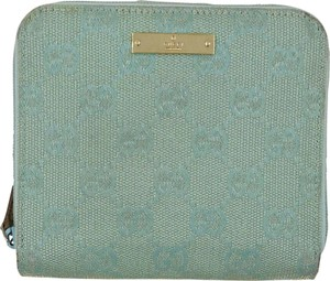 Gucci Gucci GG canvas mint green and gold leather