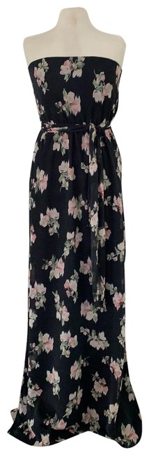 Item - Black Floral Esther Gown Long Casual Maxi Dress Size 4 (S)