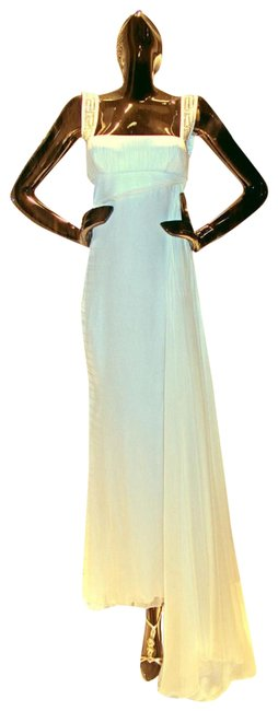 Item - White New Crystal Embellished Gown Long Formal Dress Size 8 (M)