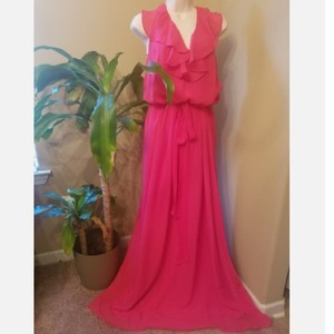 Amsale Watermelon Pink Halter Style Feminine Bridesmaid/Mob Dress Size 22 (Plus 2x)