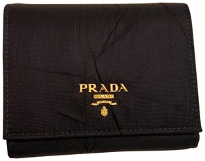 Prada Nylon and Leather Trifold Wallet Gold Hardware