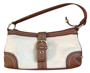 Chaps Straw Zip Top Zippered Wall Pocket Hobo Bag