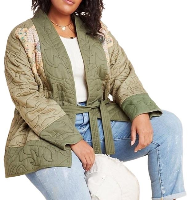 Item - Green Cream Kimono Quilted Patchwork Poncho/Cape Size 22 (Plus 2x)