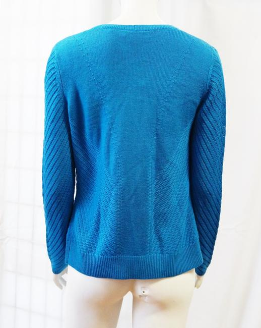 St. John New Prussian Set Wool Ribbed Shell Cardigan S Sweater