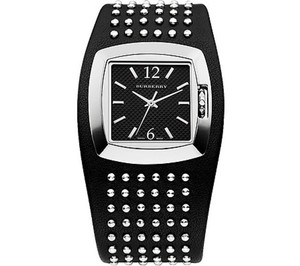 Burberry Studded Black Leather Watch