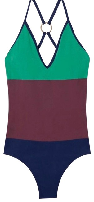 Item - Green Maroon and Blue Colorblock Plunging Swimsuit One-piece Bathing Suit Size 8 (M)