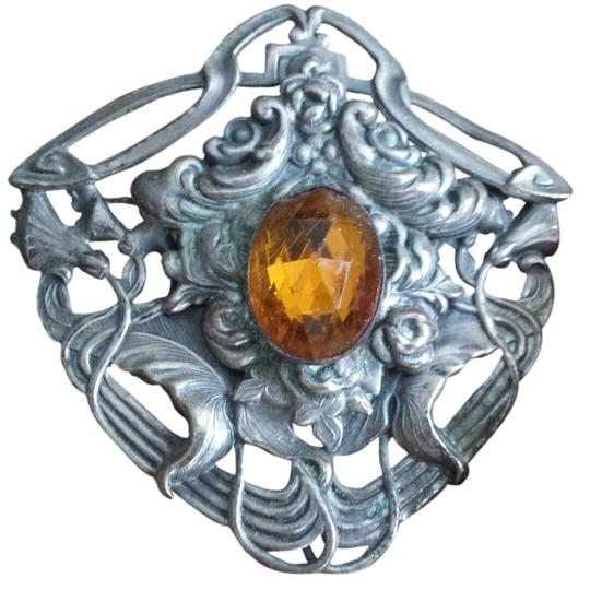 Preload https://item4.tradesy.com/images/other-vintage-medieval-shield-style-brooch-citrine-color-cabachon-2735173-0-0.jpg?width=440&height=440