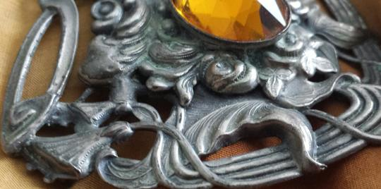 Other Vintage Medieval Shield Style Brooch Citrine Color Cabachon