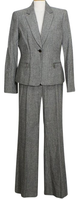 Item - Charcoal Gray Tweed Wool Blend Modern Fit Flared Pant Suit Size 14 (L)