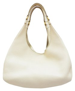 Bottega Veneta White Pebbled Leather Gold Hardware Hobo Bag