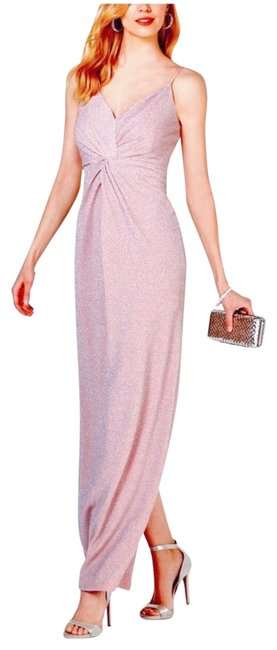 Item - Metallic Blush Pink Allover Knotted Gown Long Formal Dress Size 4 (S)