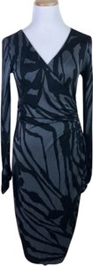 Tory Burch short dress Gray Black Wrap Animal Print on Tradesy