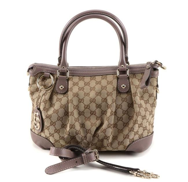 Item - Sukey Gg and Taupe Leather Two-way Beige Canvas Satchel
