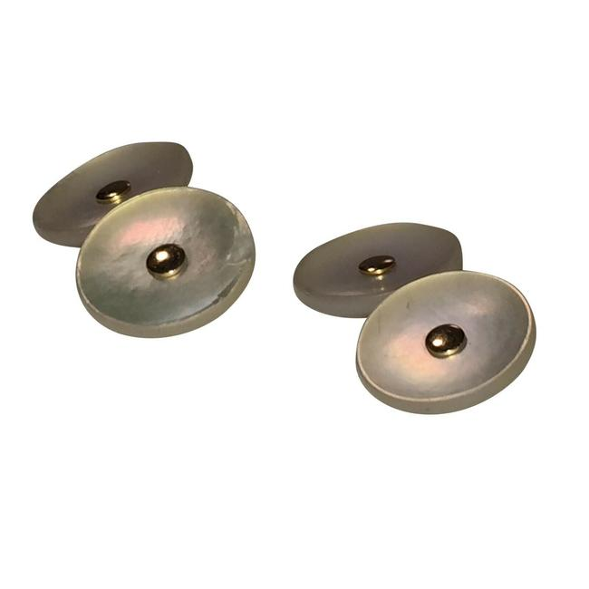 Item - Gold 14 Kt Mother Of Pearl Shell Cufflinks/Studs