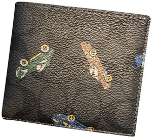 Coach F31492 Double Billfold Wallet in Signature Canvas with Car Print