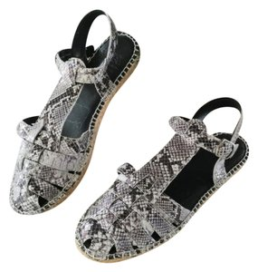 Andre Assous Snakeskin Black and White Flats