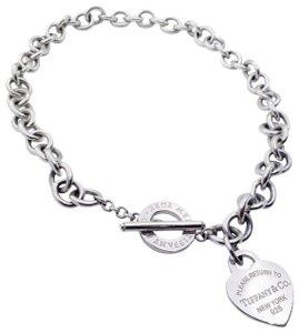 "Tiffany & Co. 17"" New Style Please return to T&Co. HeartCharm Toggle Necklace"