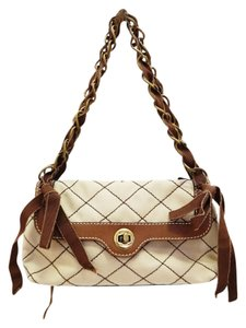 Moschino Cheap And Chic Beige Canvas Stitched Chain Handbag Small Shoulder Bag