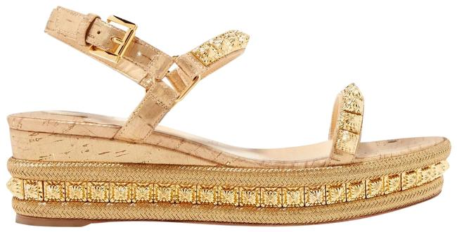 Item - Gold Pyradiams 60 Spiked Lame Sandals Wedges Size EU 39 (Approx. US 9) Regular (M, B)