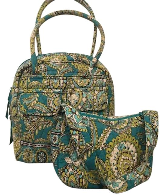 Item - Twin Set Teal/Yellow Cotton Blend Tote
