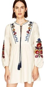 Zara short dress Beige Embroidered on Tradesy