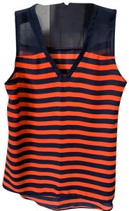 Fun 2 Fun Striped Sheer Top Navy/orange