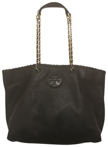 Tory Burch Purse Handbag Satchel Shoulder Weekend/Travel Tote in Black Gold