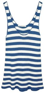 Trina Turk Knit Cover Up Swim Striped Scoop Neck Top blue