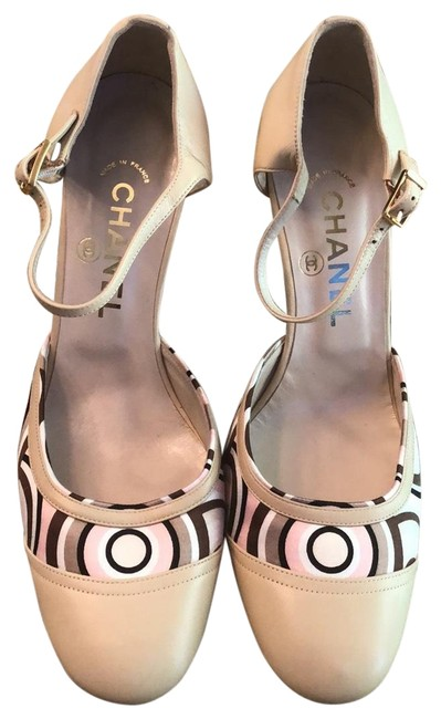 Item - Beige Leather and Pink/Brown/Beige Fabric Pumps Size EU 37.5 (Approx. US 7.5) Regular (M, B)
