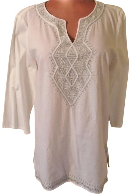 Item - White Moroccan Style Tunic Size 8 (M)