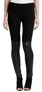 Vince Leather Contrast Stretchy Black Leggings