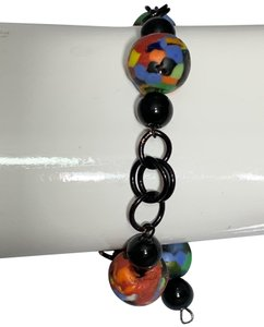 Colorful Creations Colorful glass and black SS filled wire Bracelet
