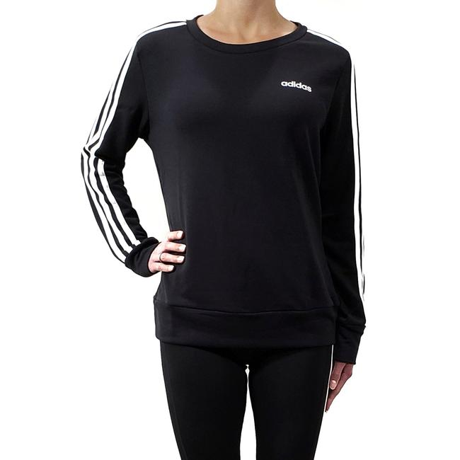 adidas Black with White Stripes Climalite 3-stripe Crewneck Sweatshirt Activewear Top Size 8 (M) adidas Black with White Stripes Climalite 3-stripe Crewneck Sweatshirt Activewear Top Size 8 (M) Image 1