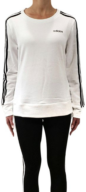 adidas White with Black Stripes Climalite 3-stripe Crewneck Sweatshirt Activewear Top Size 4 (S) adidas White with Black Stripes Climalite 3-stripe Crewneck Sweatshirt Activewear Top Size 4 (S) Image 1