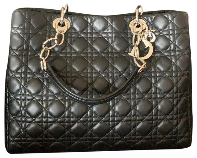 Item - Shopping Christian Cannage Quilted Tote Black Leather with Silver Hardware Lambskin Hobo Bag