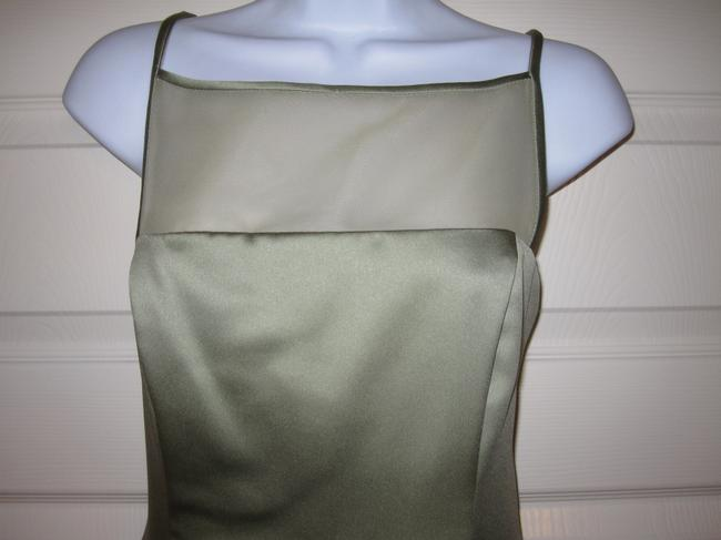 After Six A-line Long Spaghetti Straps Sheer Satin Dress