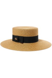 Gucci Grosgrain-trimmed glittered straw hat Small