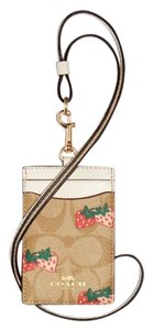 Coach Coach ID LANYARD IN SIGNATURE WITH STRAWBERRY print