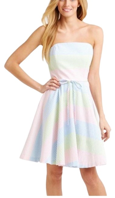 Item - Multicolor Strapless Seersucker Stripe Mid-length Short Casual Dress Size 4 (S)