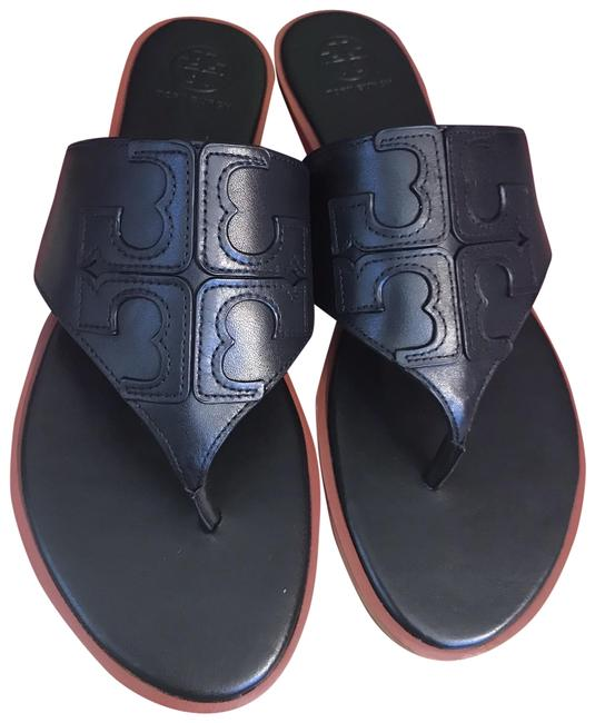 Item - Black Jamie Full Logo Thong- Calf Leather Sandals Size US 10.5 Regular (M, B)