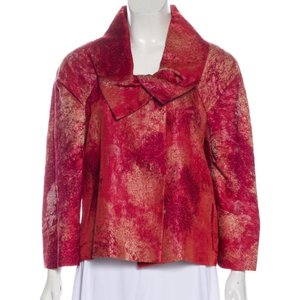 Etro Silk Watercolor Ethnic Japanese Shawl Collar Red Jacket