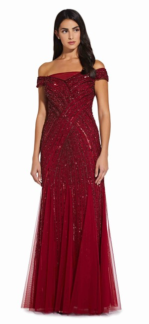 Adrianna Papell Cranberry Sequin Off The Shoulder with Beaded Detail Long Formal Dress Size 8 (M) Adrianna Papell Cranberry Sequin Off The Shoulder with Beaded Detail Long Formal Dress Size 8 (M) Image 1