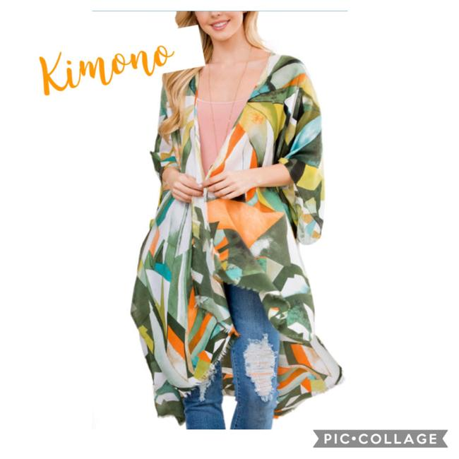 Item - Multi Color-green Yellow White Etc. Kimono Colorful Abstract Vest Size OS (one size)