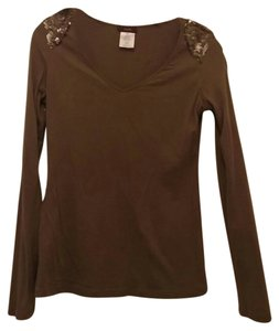 Other Sequin Shoulder Long Sleeve T Shirt brown