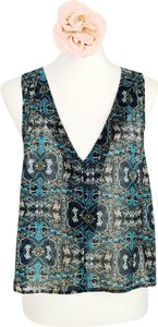 Petticoat Alley Top Blue Printed
