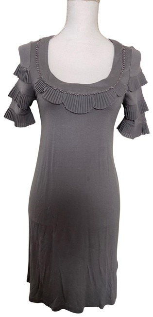 Item - Grey Ruffles Shift Small Short Casual Dress Size 4 (S)