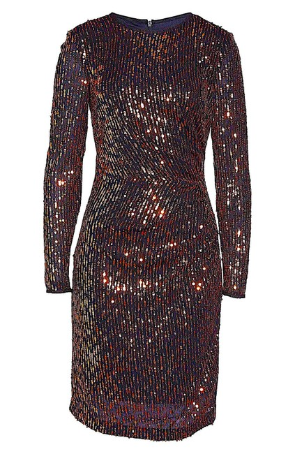 Item - Black/Gold New with Tag Sequin Long Sleeve Mid-length Cocktail Dress Size 8 (M)