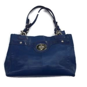 Coach Penelope Leather Carryall Satchel in Cobalt Blue