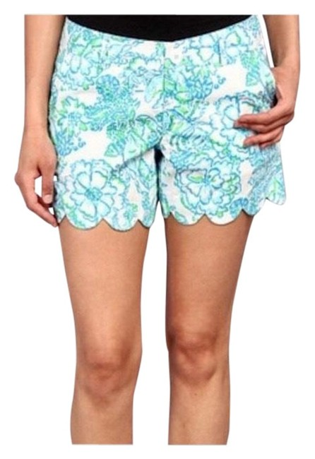 Item - White / Blue / Green Scalloped Buttercup Shorts Size 0 (XS, 25)