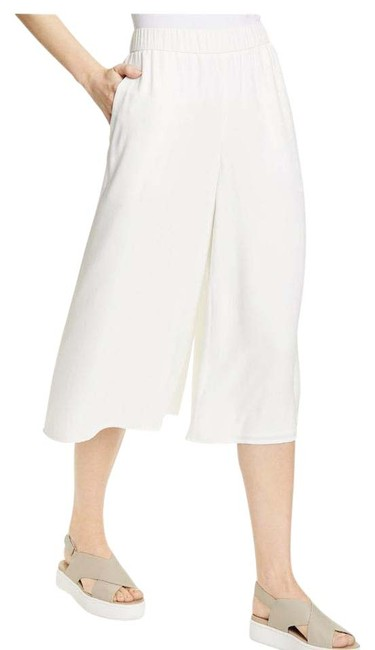 Item - White Silk Wide Leg Pants Size 12 (L, 32, 33)
